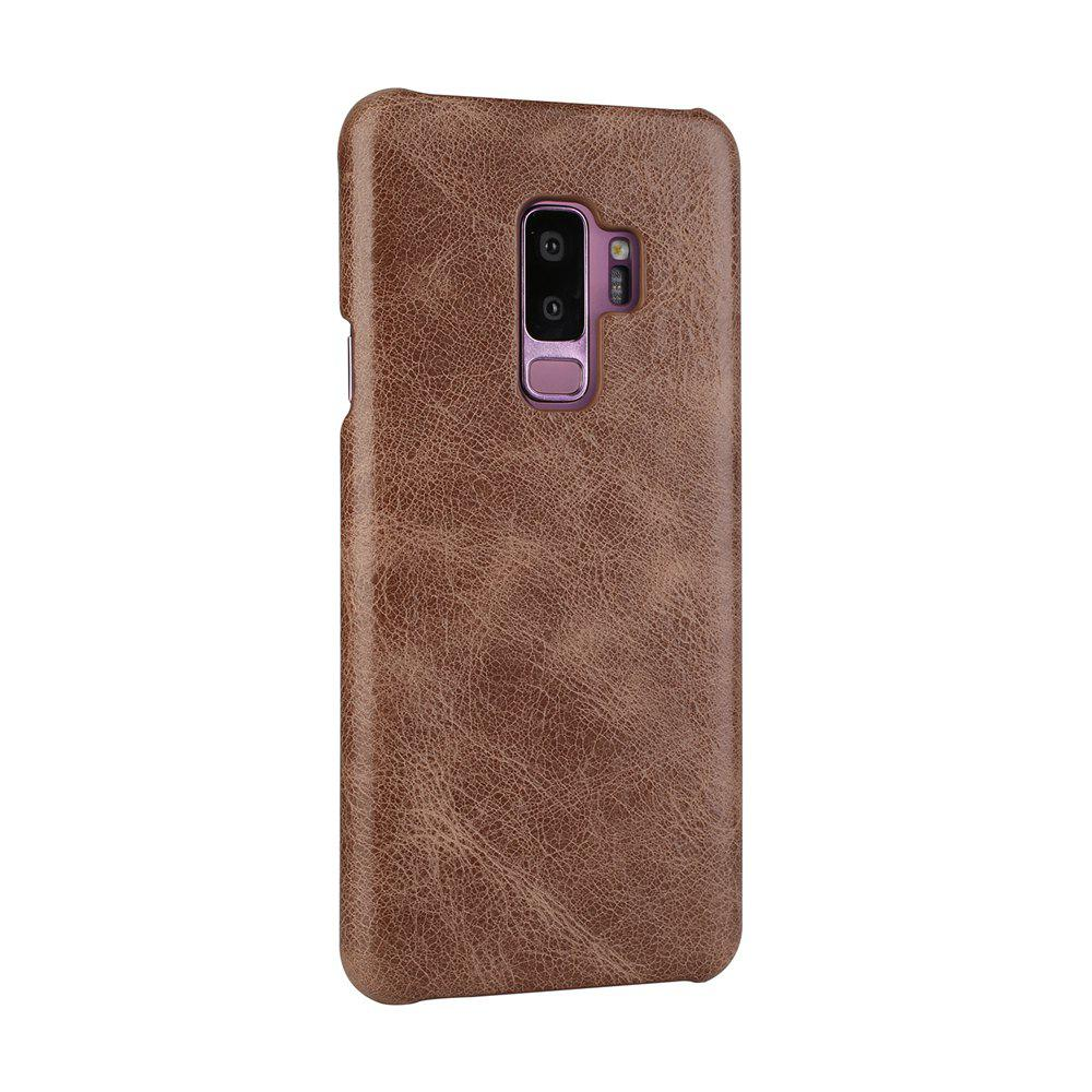 For Samsung Galaxy S9 Bumper Case Frosted Genuine Leather Back Cover - COFFEE