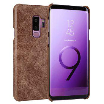 For Samsung Galaxy S9 Plus Bumper Case Frosted Genuine Leather Back Cover - COFFEE