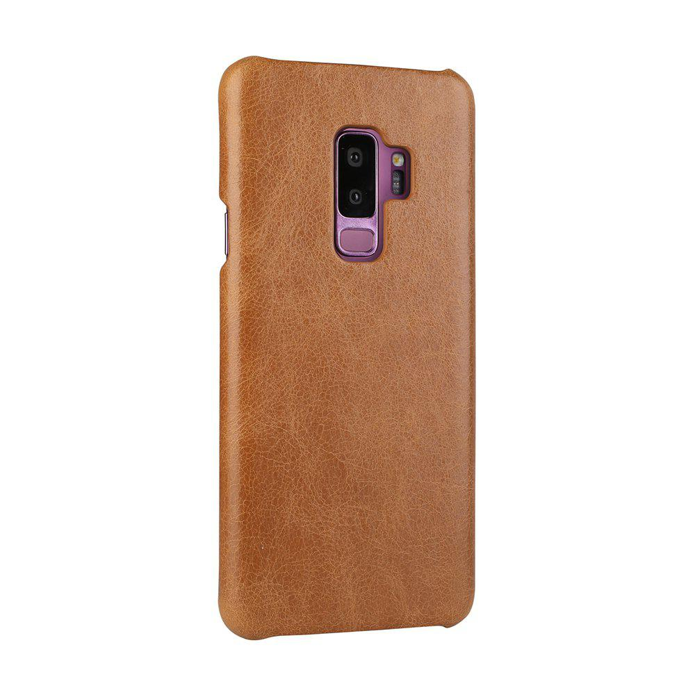 For Samsung Galaxy S9 Plus Bumper Case Frosted Genuine Leather Back Cover - BROWN