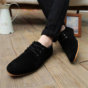 Men's Fashion England Breathable Casual Canvas Sneakers Running Shoes - BLACK 44