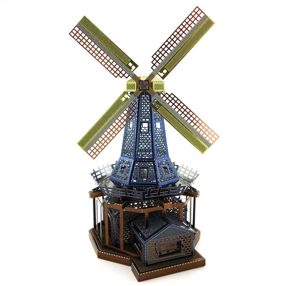 Creative Dutch Windmill 3D Metal High-quality DIY Laser Cut Puzzles Model Toy diy assembly windmill wind powered car toy blue