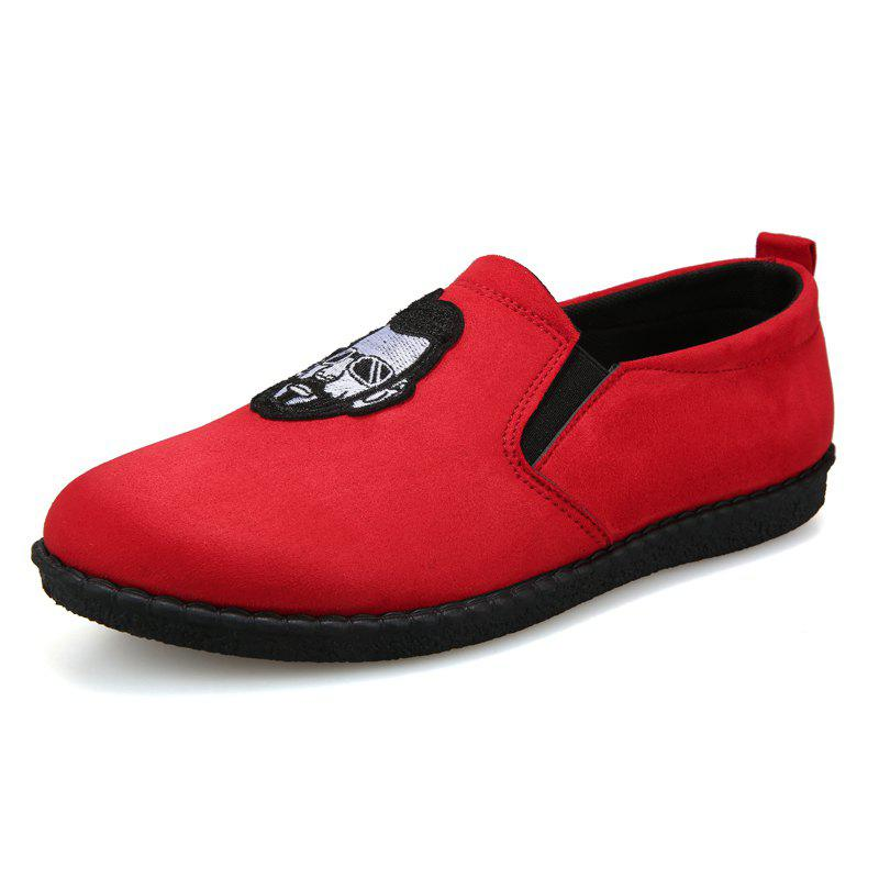 Head Pattern Leisure Male Version Driving Lazy Shoes - RED 42