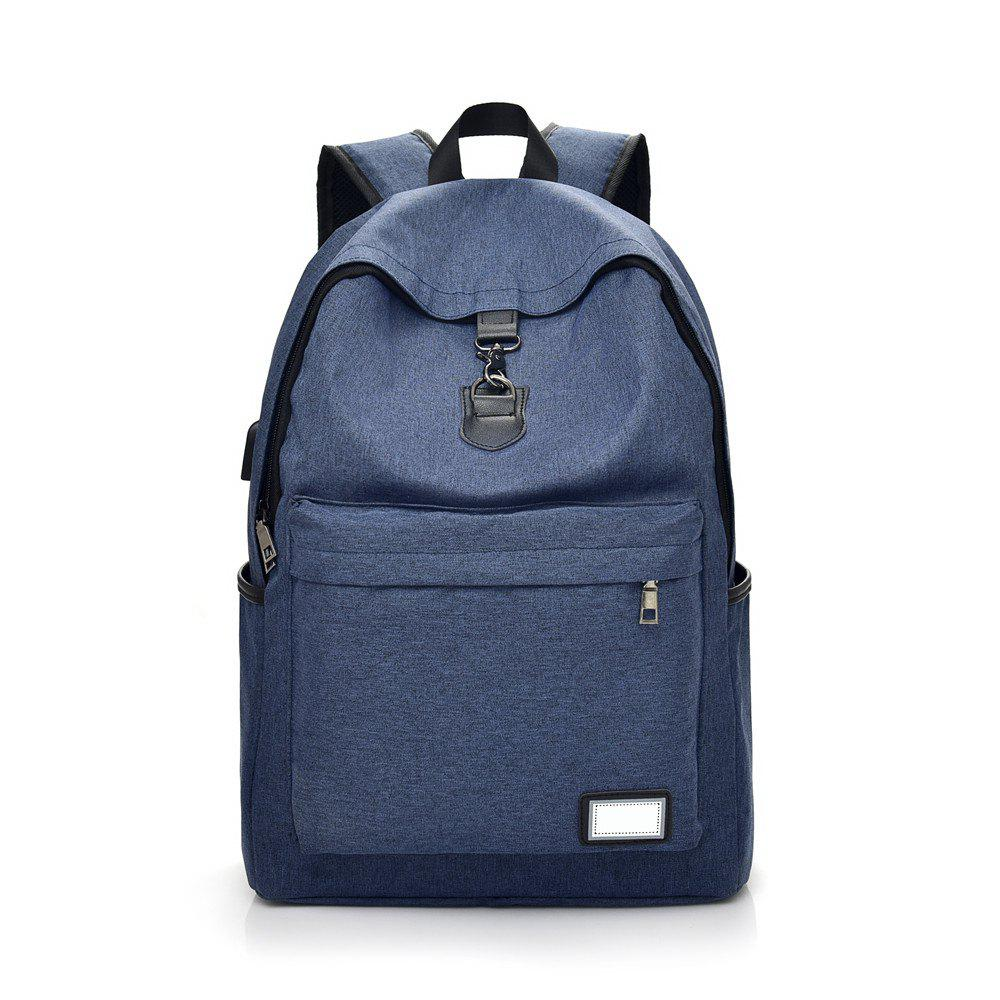 Fashion Simple High-Capacity Canvas Male Travel Backpack - BLUE