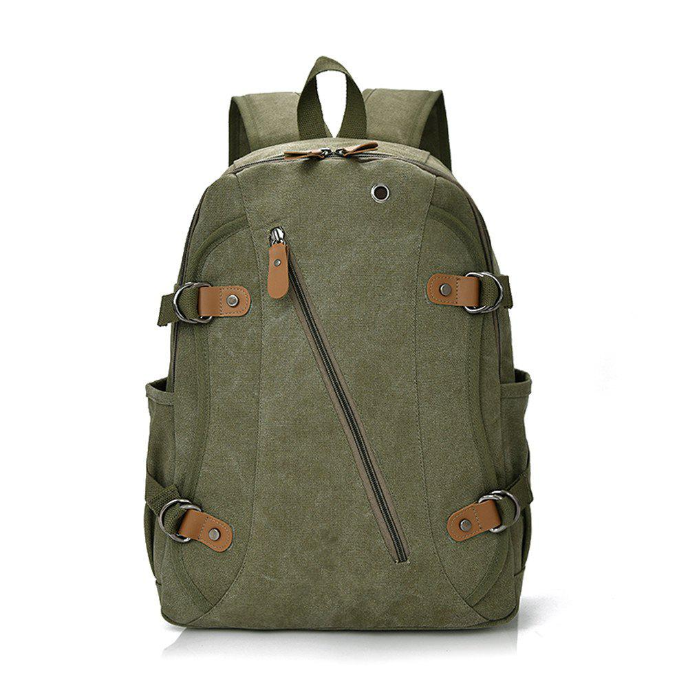 Canvas Fashion Simple Wild Large Capacity Outdoor Backpack Tide - JUNGLE GREEN