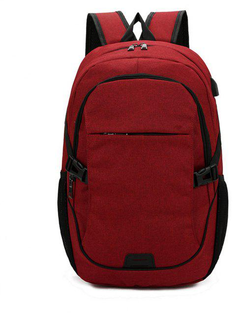 Fashion Simple High-Capacity Canvas Travel Male Outdoor Travel Backpack Tide - RED