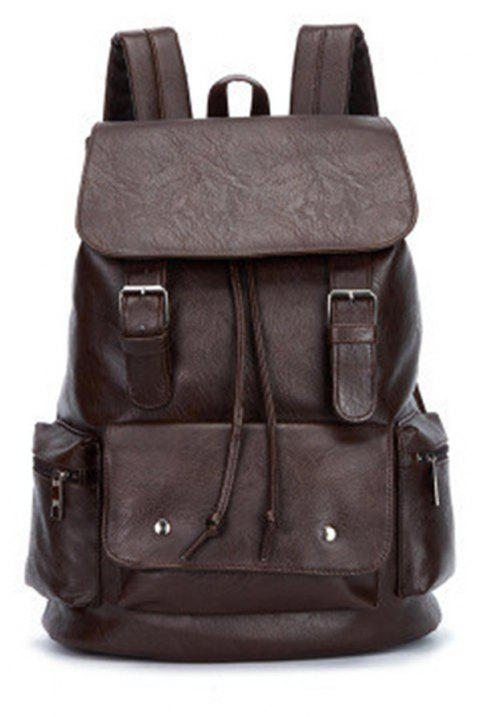 High Capacity Large Mens Travel Bag Black Leather Man Backpack For Trip - SANGRIA