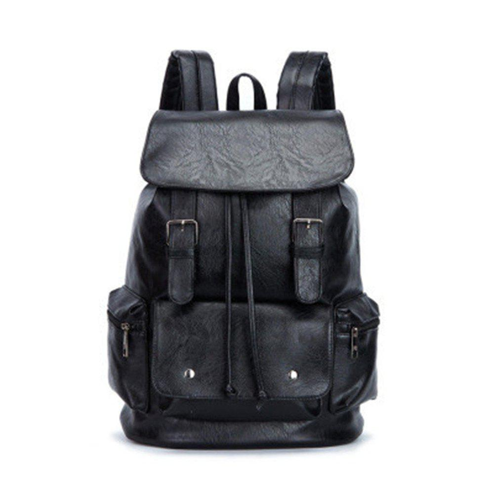 High Capacity Large Mens Travel Bag Black Leather Man Backpack For Trip - BLACK