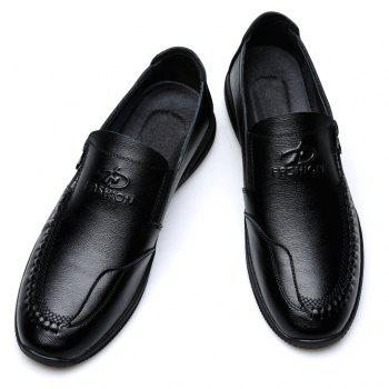 Men Casual New Slip on Soft Solid Leather Business Shoes - BLACK 44