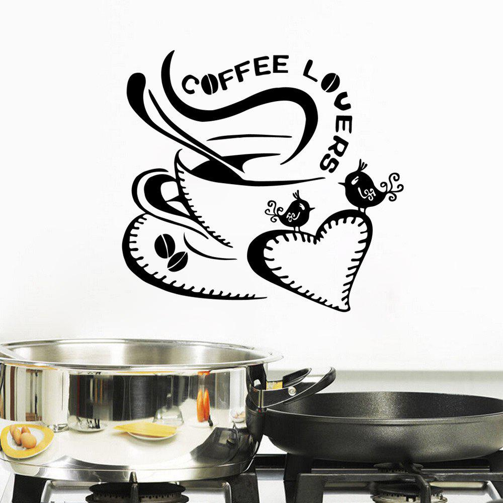 Фото Coffee Lovers Quote Wall Sticker Love Heart Coffee Cute Birds Vinyl Decals family wall quote removable wall stickers home decal art mural