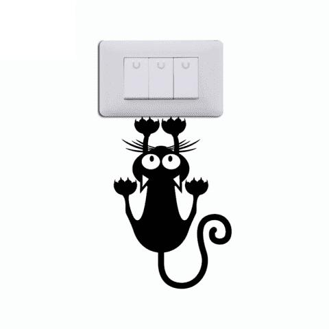 2019 cat hanging on light switch sticker wall decal art vinyl