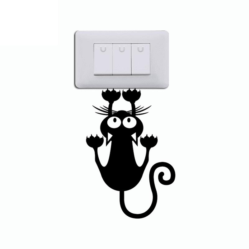 Cat Hanging On Light Switch Sticker Wall Decal Art Vinyl Cartoon Cat Stickers random cartoon ceramic tile decal 1pc