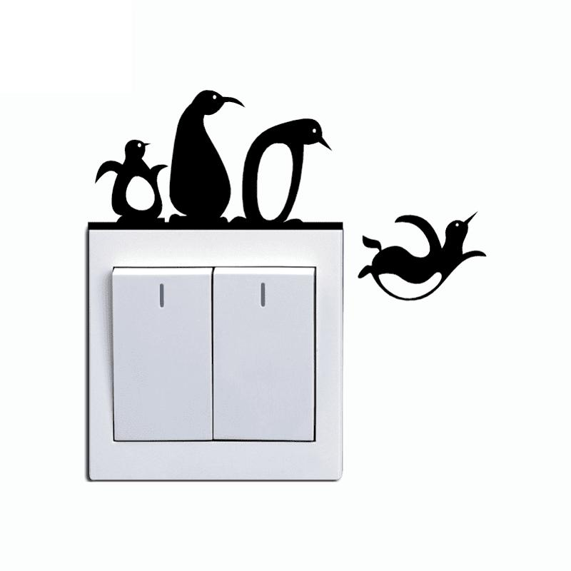 Penguins Switch Sticker Cartoon Pegatina Wall Stickers for Kids Room Home Decor aomei 0173 chest mark pattern pvc room decor wall sticker black