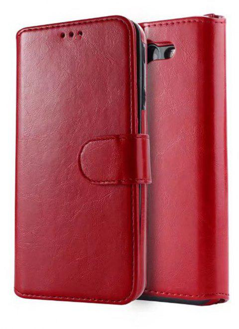 PU Leather Wallet Case with Detachab Magnetic Back Cover for Samsung Galaxy J720 - RED