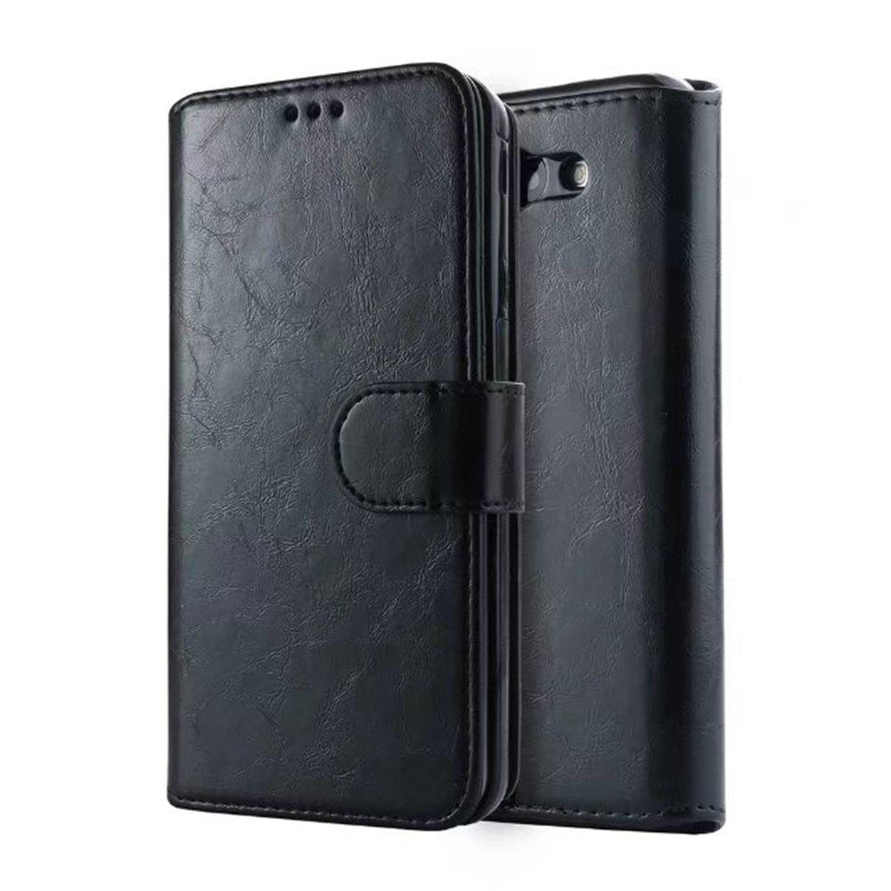 PU Leather Wallet Case with Detachab Magnetic Back Cover for Samsung Galaxy J720 - BLACK