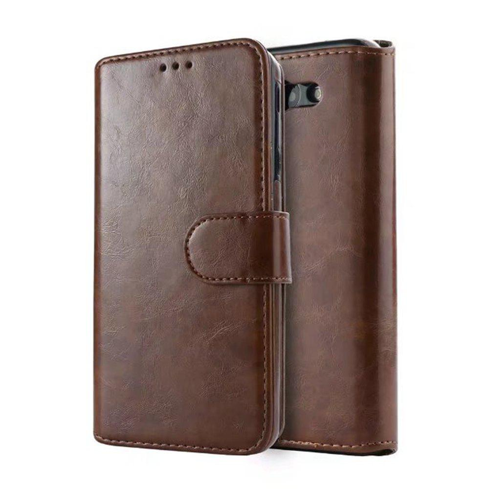 PU Leather Wallet Case with Detachab Magnetic Back Cover for Samsung Galaxy J720 - BROWN BEAR