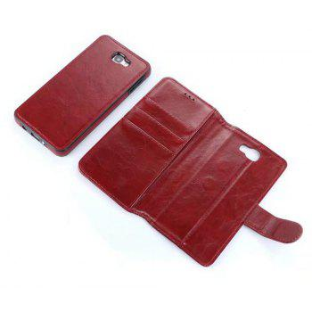 2 in 1 Wallet Case with Detachable Back Cover for Samsung Galaxy J7 Prime - RED WINE