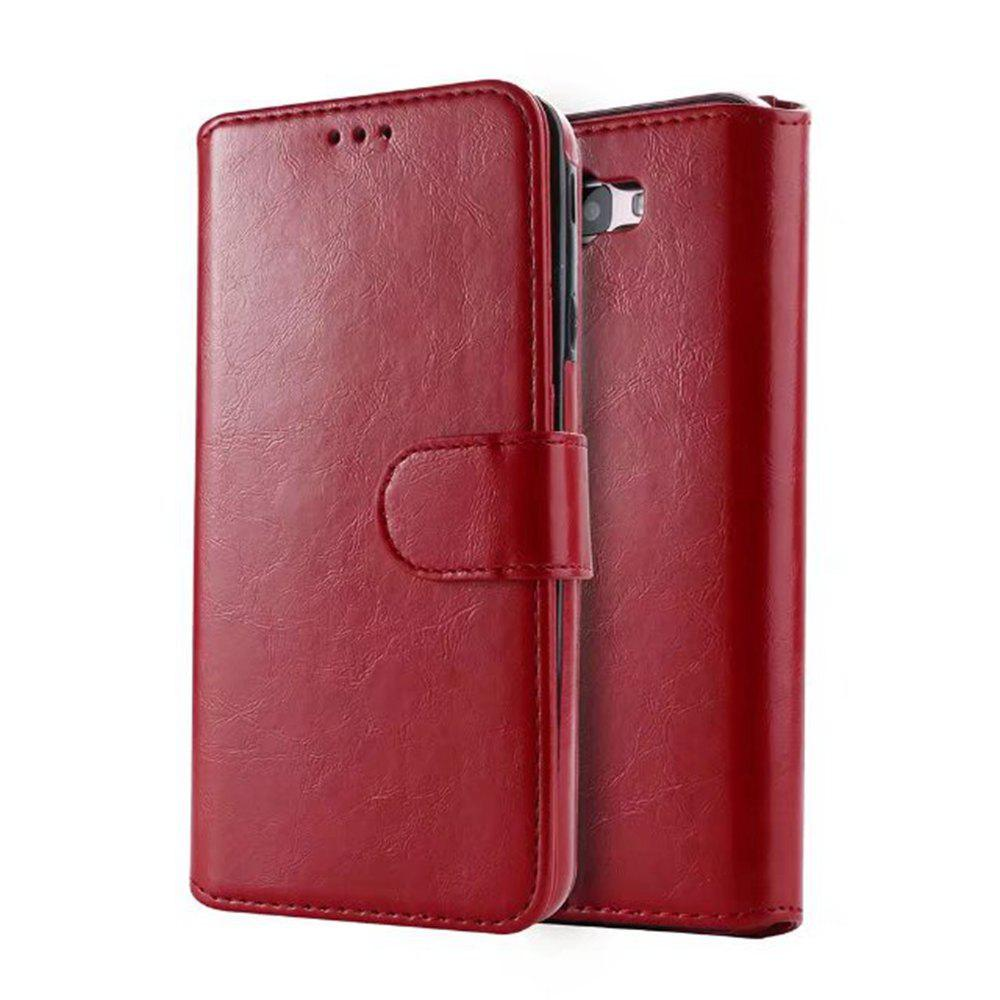 2 in 1 Wallet Case with Detachable Back Cover for Samsung Galaxy J7 Prime - RED