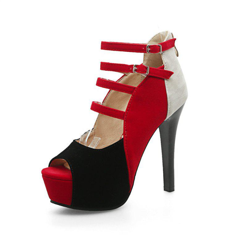 Coloured Super Heel Sandals - RED 40