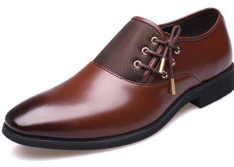 New Men's Classic Point Toe Oxfords For Men Fashion Business Party Dress Shoes - BROWN 46