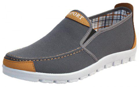Men Flat Heel Canvas Casual Shoes - GRAY 40