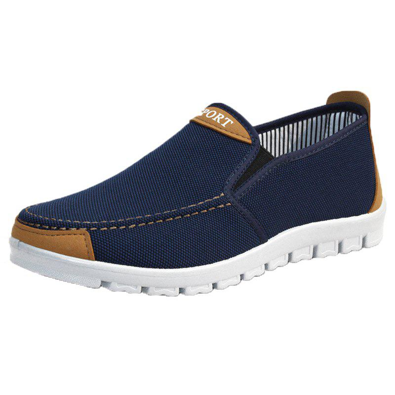 Men Flat Heel Canvas Casual Shoes - MIDNIGHT BLUE 40