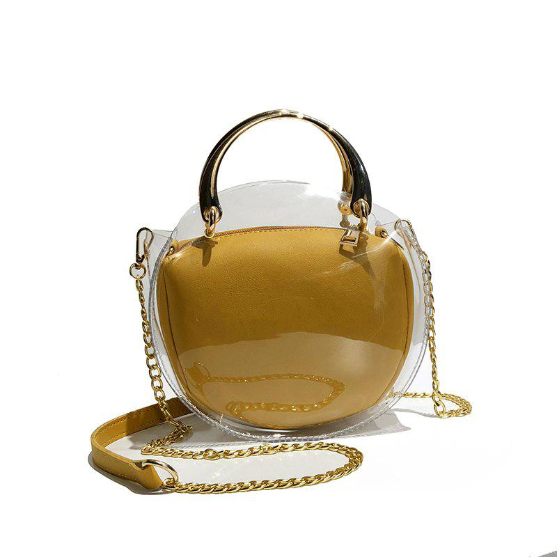 Two Pieces Transparent Jelly Shoulder Messenger Bag Fashion Handbag - ORANGE GOLD