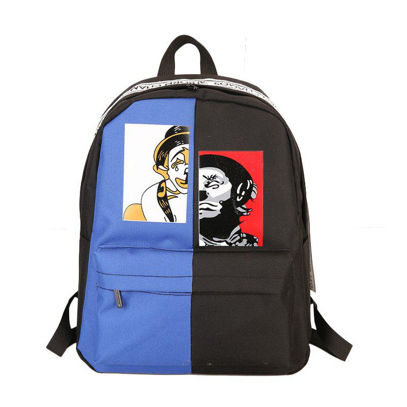 Contrast Color Casual Unisex Backpack - multicolor A
