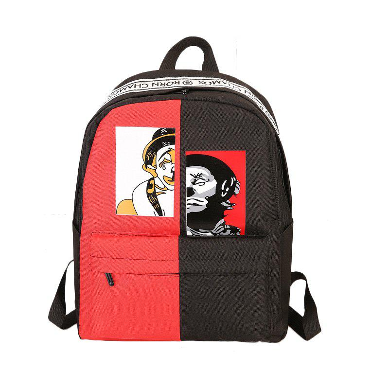 Contrast Color Casual Unisex Backpack - multicolor B