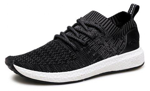 Men Shadow Knit Breathable Sneaker Lightweight Walking Running Shoes - BLACK 43