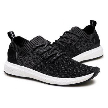 Men Shadow Knit Breathable Sneaker Lightweight Walking Running Shoes - BLACK 42