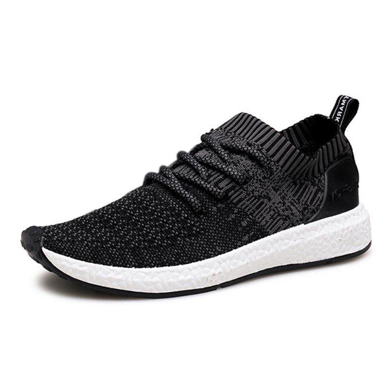 Men Shadow Knit Breathable Sneaker Lightweight Walking Running Shoes - BLACK 44