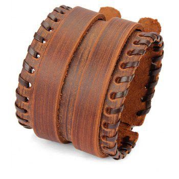 Simple Fashion Shuangkou Alloy Wide Leather Rope Bracelet - BROWN