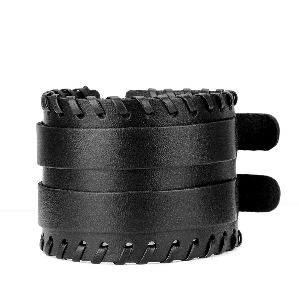 Simple Fashion Shuangkou Alloy Wide Leather Rope Bracelet - BLACK