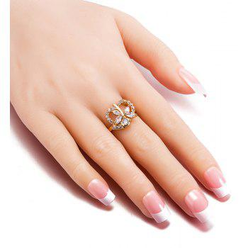 Fashion Dragonfly Hollowed-out Heart-shaped Zircon Ring J0827 - GOLD US SIZE 9