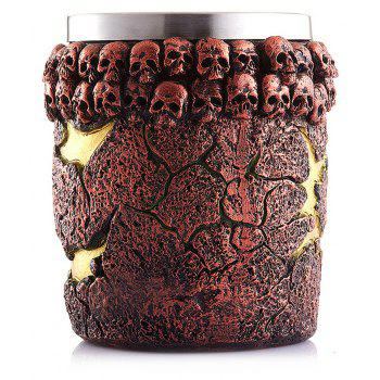Innovative Stainless Steel Inner Tank Magma Monster Resinous Shell Old Ancient Human-Skeleton Mark Office Cup - multicolor B