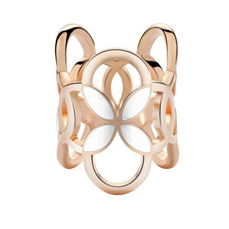 Hollow Alloy Cylindrical Four Leaf Clover Brooch Pins Scarf Buckle Clips Women - WHITE