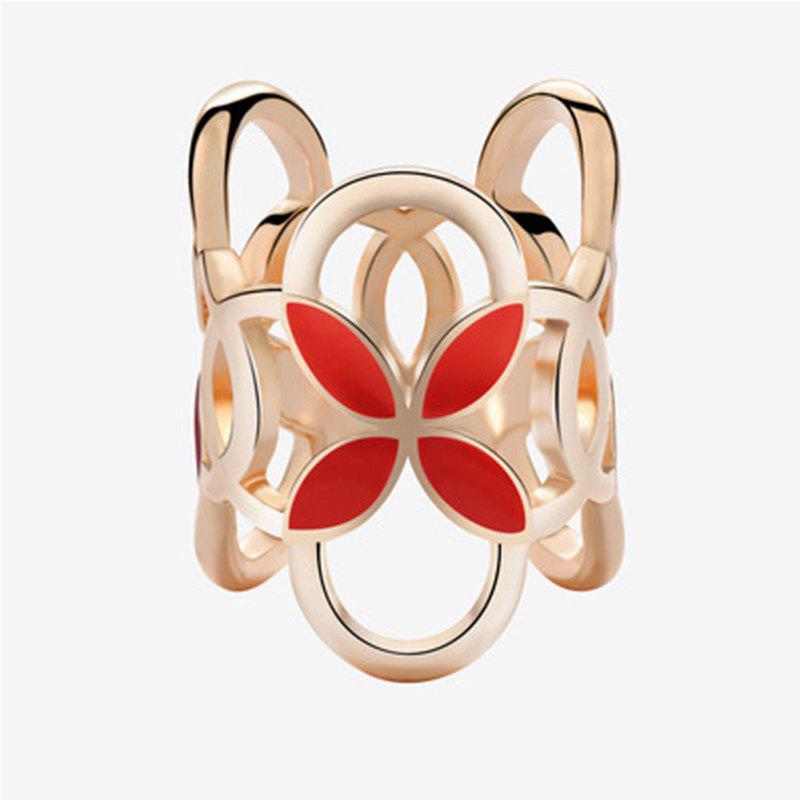 Hollow Alloy Cylindrical Four Leaf Clover Brooch Pins Scarf Buckle Clips Women - FIRE ENGINE RED