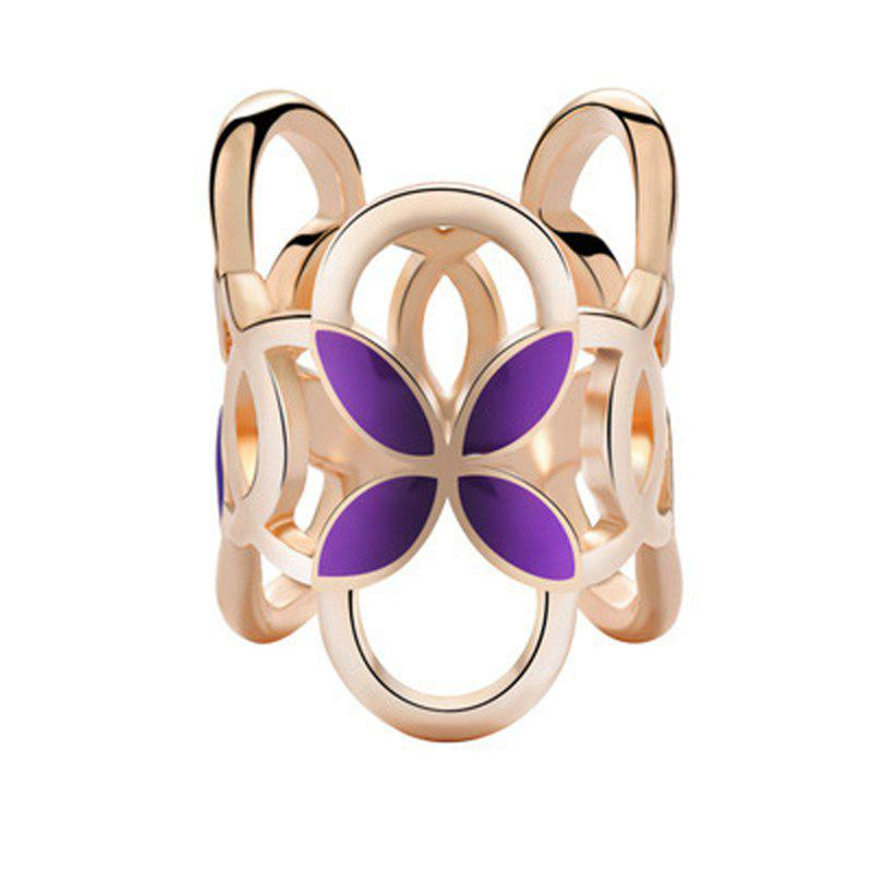 Hollow Alloy Cylindrical Four Leaf Clover Brooch Pins Scarf Buckle Clips Women - MAGENTA