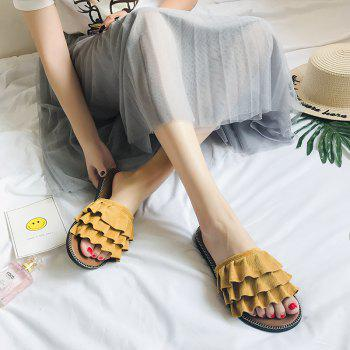 Matte Leather New Women's Slippers - SUN YELLOW 37