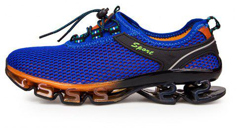 Men's Mesh Breathable Technology Shock-Absorbing Blade Running Shoes - ROYAL BLUE 42