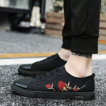 Hot New Rose Embroidery Canvas Casual Shoes - BLACK 42