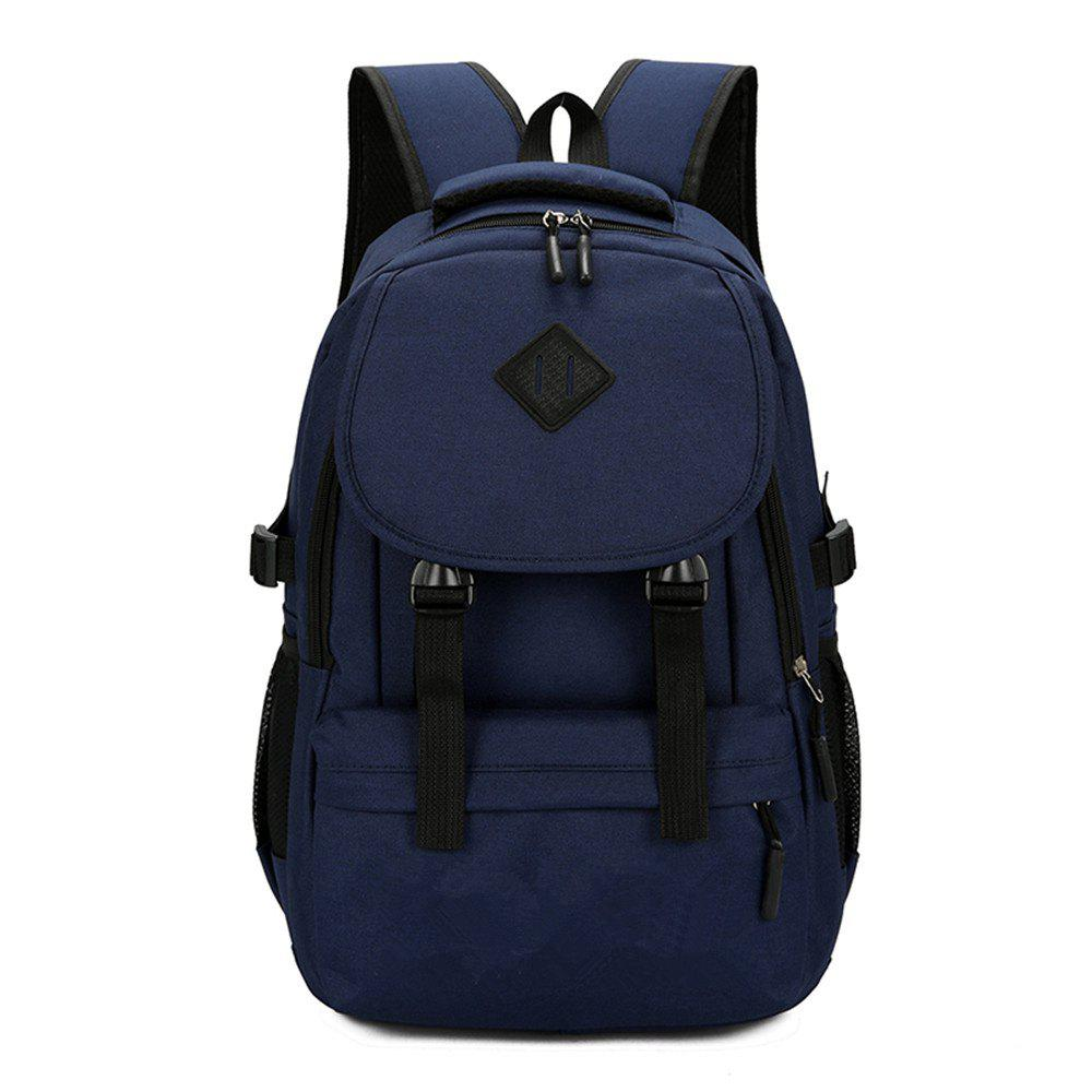 Fashion Simple and Stylish Large Capacity Men'S Canvas Travel Backpack Tide - BLUE