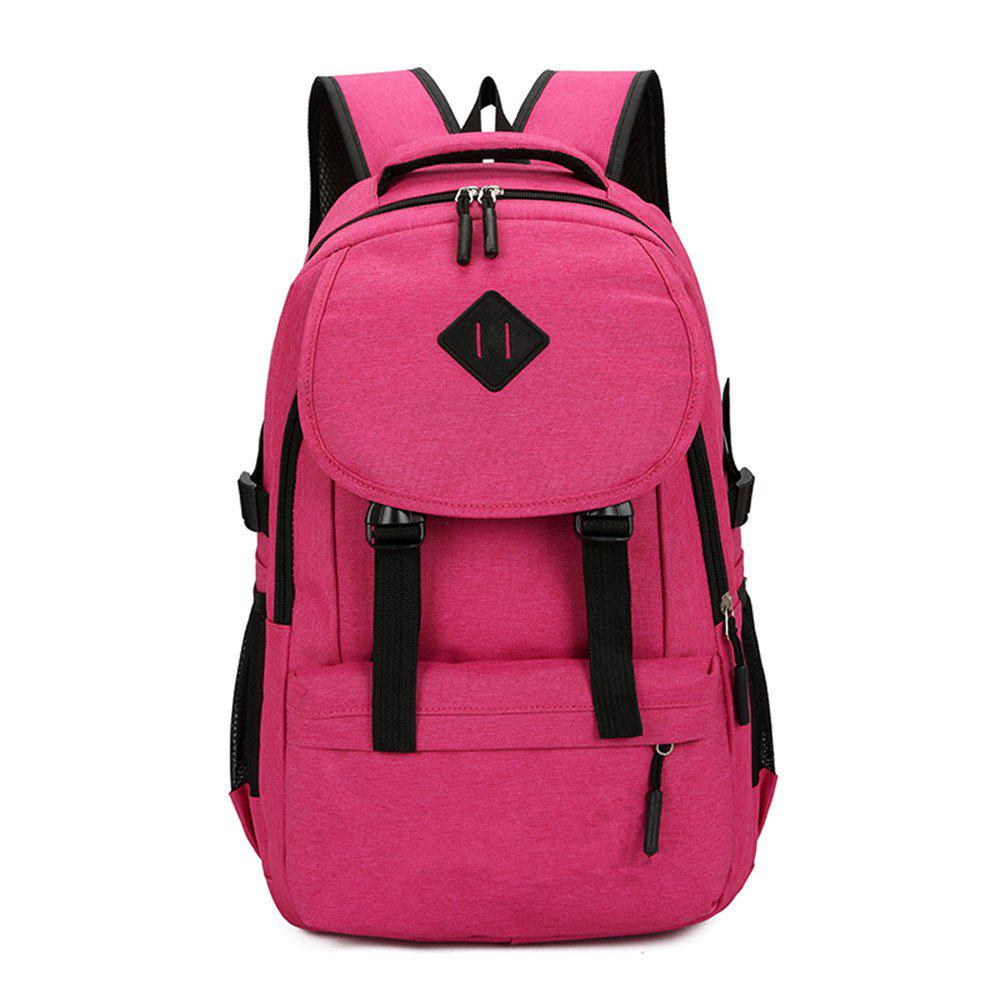 Fashion Simple and Stylish Large Capacity Men'S Canvas Travel Backpack Tide - PINK CUPCAKE