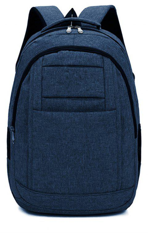 Fashion Simple Wild Large Canvas Men'S Outdoor Travel Backpack - BLUE