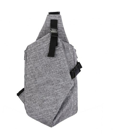 Fashion Simple Wild Male Canvas Travel Outdoor Diagonal Chest Wave Bag - GRAY
