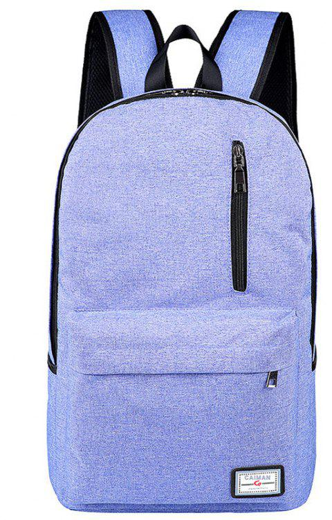 Usb Charging Backpack Outdoor Canvas Student Bag Fashion Large Capacity Travel - DAY SKY BLUE VERTICAL