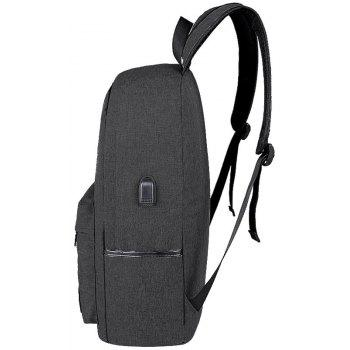 Usb Charging Backpack Outdoor Canvas Student Bag Fashion Large Capacity Travel - BLACK VERTICAL