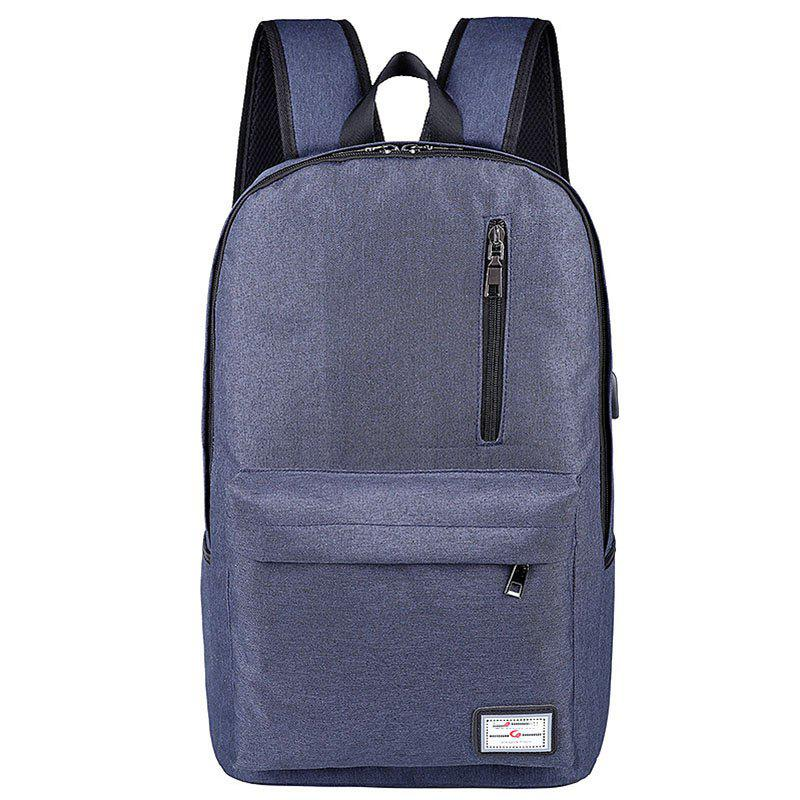 Usb Charging Backpack Outdoor Canvas Student Bag Fashion Large Capacity Travel - NAVY BLUE VERTICAL