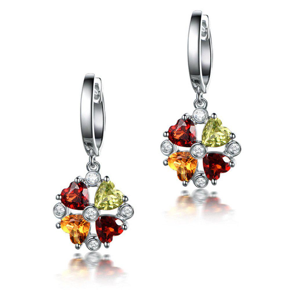Creative Lady Colored Gemstone Earrings - SILVER