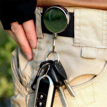 Metal Simple Pull Buckle Key Chain Anti-Lost Anti-Theft Stretch - SILVER